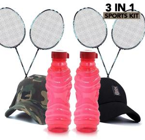 3 in 1 Sports kit, 2Pcs Cap, 2 Pair Badminton Racquets and 2pcs  Water Bottle