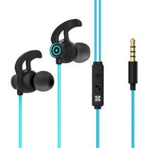 Promate In-Ear Premium 3.5mm HD Stereo Sound Earphones with Built-In Mic, Swift Blue