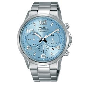 Alba Stainless steel wrapped bracelet And Light blue dial Analog Watch For Men AT3D75X1