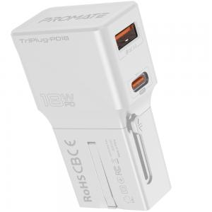 Promate Travel Adapter with 18W Type-C PD Port, Qualcomm QC3.0 Port, Over-Charge Protection TripPlug-PD18 White