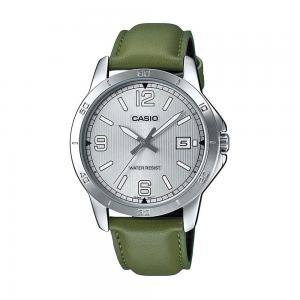 Casio Mens Analog Leather Watch, MTP-V004L-3BUDF