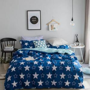 Double Size Bed Sheet Set of 6 Pieces, White Star Design, 200x230 cm