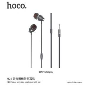 Hoco Ariose universal earphones with mic, Metal Gray, M28