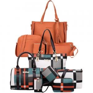 10 In 1 Womens 6 pcs Black Assorted Design Bags with Jingpin Tassel Tote Bags