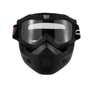 Motorcycle Detachable Goggles Mask and Mouth Filter for Open Face Helmet Motocross Ski Snowboar