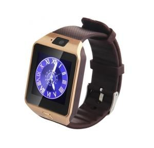 Fitmate DZ09 Sim Card Supported Smartwatch-Gold-Brown