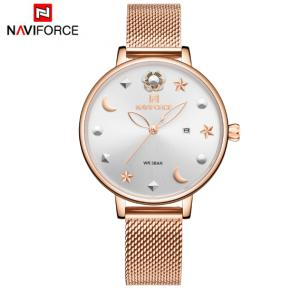 Naviforce NF5009 Moon Star Design Casual Style Women Wrist Watch Waterproof - Gold