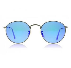 Ray-Ban Round Brushed Bronze Frame & Grey Blue Mirrored Sunglasses For Unisex - RB3447-16768