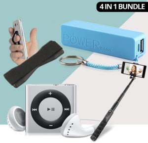 4 In 1 Bundle Offer Powerbank, MP3 Player, Mobile Grip & Selfie Stick