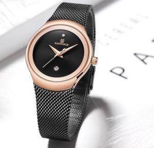 Naviforce Stainless Steel Waterproof Watch For Women, NF5004, Black Gold