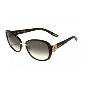 Chopard Oval Shiny Dark Havana Frame &  Brown Gradient Mirrored Sunglasses For Women - SCH186S-0722
