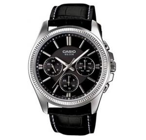 Casio Analog Watch For Men, Black Leather Strap With Black Dial-MTP-1375L-1A