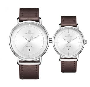 Naviforce Simple And Beautiful Leather Strap Watches For Couples - Brown White