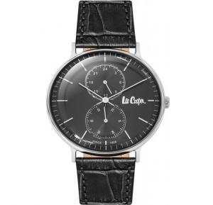 Lee Cooper Mens Analog Silver Case Black Leather Strap Black Dial, LC06381.361