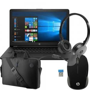 4 in 1 Bundle offer HP 15RA006NE Notebook 15.6inch 4GB RAM 500GB HDD, Black and 15.6 Value Black Top load, Hp Stereo DF Black Headset with Wireless Mouse