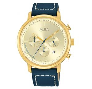 Alba Light champagne dial And Dark blue leather strap Analog Watch For Men AT3D60X1