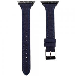 Promate Canvas Leather Watch Band, Trendy Canvas Styled with Leather Wristband Replacement for Apple Watch Strap 38mm/40mm, TARTAN-38SM.D-BLUE