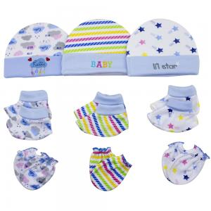 Night Angel Baby Benie Hat Mittens and Bootie Set for Boys BC-203-B