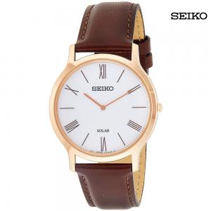 Seiko Men Year-Round Stainless Steel Quartz Watch with Leather Strap, SUP854P1