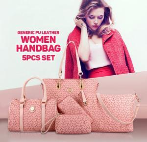Generic PU Leather Women Handbag 5pcs Set,Pink