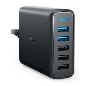 Anker PowerPort Wall Charger Black 5 usb