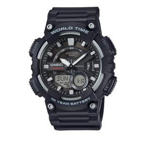 Casio AEQ-110W-1BVDF Youth Combination Analog-Digital Black Dial Mens Watch