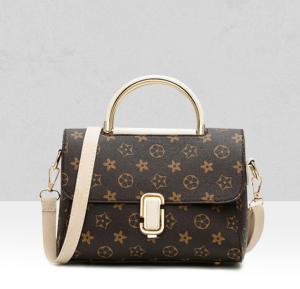 White Contrast Designers Exclusive Shoulder Bag - beige handle