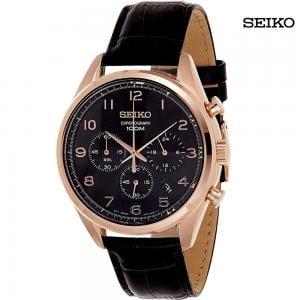 Seiko Men Analog Chronograph Leather Watch, SSB296P1