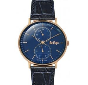 Lee Cooper Mens Analog Rose Gold Case Blue Leather Strap Blue Dial, LC06381.499