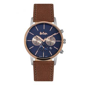 Lee Cooper Gents Multi T/T Silver/ Rose Gold Case, D-Blue Dial, Brown Leather Strap, LC06341.592