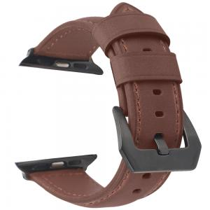 Promate Leather Watch Band, Premium Quality Leather Replacement Apple Watch 42mm/44mm, STITCH-42ML.D-BRN