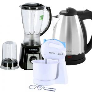 3 in 1 Bundle Pack Blender With Unbreakable Jar, Water Kettle, Hand Mixer With Bowl