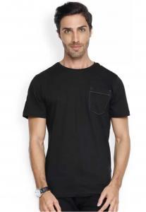 Denvlot Solid Men Round Neck Black T-Shirt