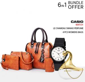 6 in 1 Fashion Bundle Swano Perfume,Casio Watch and 4 pcs Bags