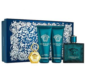 Versace Eros Cologne Gift Set EDT Spray 100ml, Invigorating Shower Gel 100ml, Comfort Aftershave Balm 100ml and Key Holder