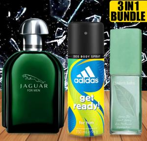 Crazy Deal Bundle Offer Buy Jaguar classic Green 100ml for Men And Get Elizabeth Arden Green Tea 100ml for women And Adidas Get ready 24hrs deo spray - Free