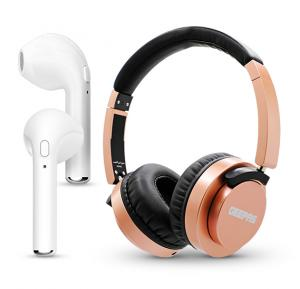 2 in 1 Bundle Geepas DJ Headphone GHP4703 And HBQ-i7 tws Double Side Wireless Earphone