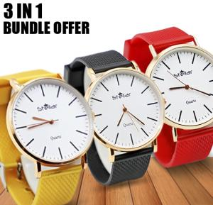 3 In 1 Bundle Offer Stellar Luxury Quality Quartz  Watch for Women And Men Yellow,Black and Red