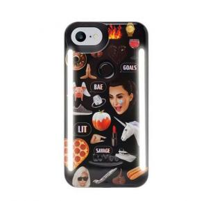 LuMee DUO iPhone 8 Plus Kimoji Multi Black LD-IP8PKMJI-MB