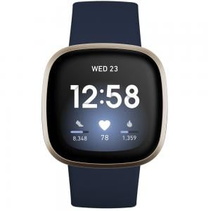 Fitbit Versa 3 Health And Fitness Smartwatch With GPS, Midnight Blue with Soft Gold Aluminium