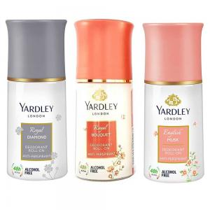 Yardley Deodorant Roll On For Women Pack Of 3, 1 Royal Diamond 1Bouquet and 1 Musk, 50ml