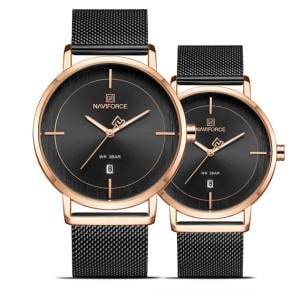 Naviforce Simple And Beautiful Watches For Couples - Black Gold