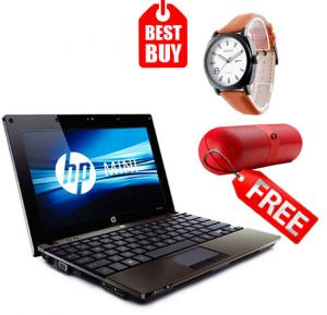 Combo Offer! HP Mini 5103 Laptop, Intel Atom Processor, 10.1 Inch Screen, 2GB Memory, 160GB HDD, Windows 7 & Get Claxton Analog Watch For Men, Brown Leather Strap With White Dial-CT49012 & FIVESTAR F-808 Pill Design Multi-Function HiFi Bluetooth Speaker with MIC Support - Bl