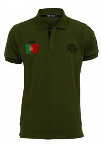 Braxton Embroidered Portugal Flag Polo Green T-Shirt - EL1222 - M