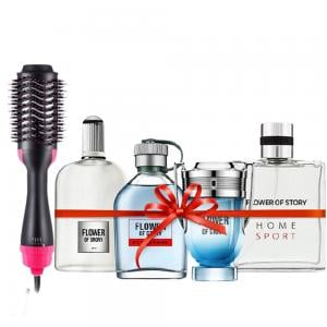 Combo Pack 3 In 1 One Step Hair Dryer Styler And 4 pcs perfume gift set