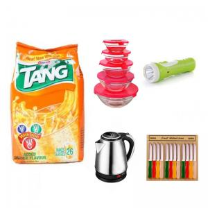 Bundle Offer Tang Orange Refill Pack 1kg (Expiry 2018) get free Electric Kettle 1.8 Litre, Glass bowl 5 Pieces Sets, Multi-Color Sharp 12 piece Knife, Krypton Plastic Torch