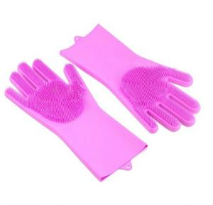 Magic Silicone Gloves With Wash Scrubber Assorted color