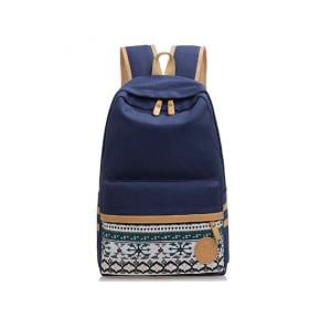 Generic Korean Canvas Printing BackpackSchool Bags for Teenage Girls-Dark Blue