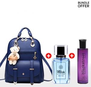 3 in 1 Fashion Kit, Women fashion Backpack with Ruky Musk Perfume 100ml and Ruky Black Street Perfume 100 ml