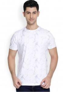Denvlot Printed Round Neck White T-Shirt for Men